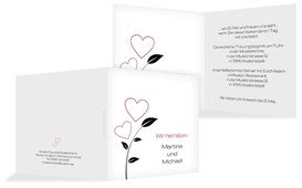 Einladungskarte Herzblume - Rot (K24)