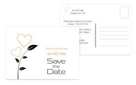 Save the Date Herzblume - Orange (K25)