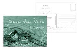 Save the Date Karte Hochzeit Eheringe - Türkis (K25)