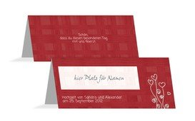 Tischkarte Liebestraum - Rot (K32)