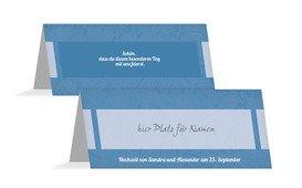 Tischkarte Hochzeitsglück - Blau (K32)