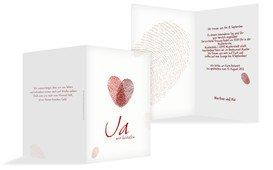 Einladung zur Hochzeit Fingerprint - Rot (K20)