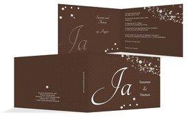 Einladungskarte romantic flower - Braun (K19)