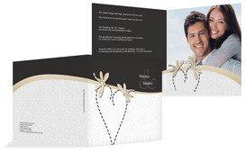 Einladungskarte Hochzeit Unzertrennlich - Schwarz (K24)