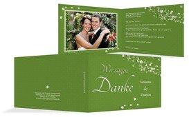 Danksagungskarte romantic flower - Grün (K19)