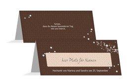 Tischkarte romantic flower - Braun (K32)