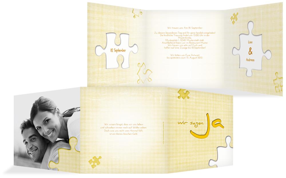 Einladung Zur Hochzeit Puzzle