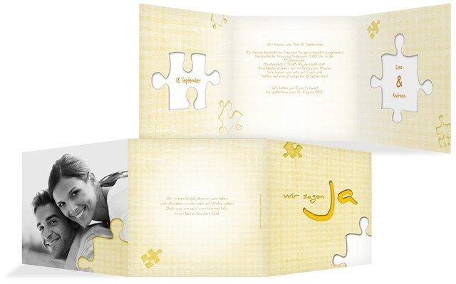 einladung zur hochzeit puzzle, Einladung