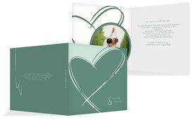Einladungskarte Doppelherz - Grün (K24)