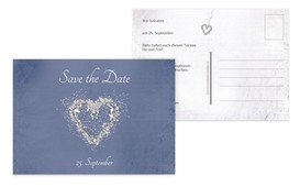 Save the Date glamour heart - Blau (K25)