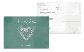 Save the Date glamour heart - Türkis (K25)