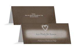 Tischkarte Hochzeit glamour heart - Braun (K32)
