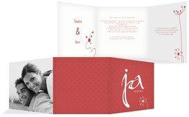 Einladungskarte abstrakte Blumen - Rot (K23)