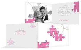 Dankeskarte Puzzleteile - Pink (K19)