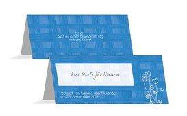 Tischkarte Liebestraum - Blau (K32)