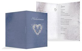 Menükarte glamour heart - Blau (K38)