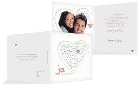 Einladung zur Hochzeit Herzform - Rosa (K24)