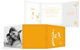 Einladungskarte abstrakte Blumen - Gelb (K23)