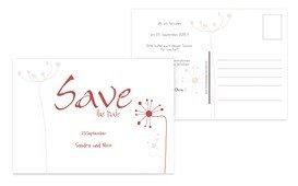 Save the Date abstrakte Blumen - Rot (K25)
