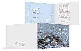 Dankeskarte Hochzeit Eheringe 2 - Blau (K19)