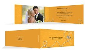 Dankeskarte zur Hochzeit erfüllte Liebe - Gelb (K33)