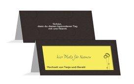 Tischkarte Hochzeit Eleganz - Gelb (K32)