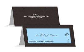 Tischkarte Hochzeit Eleganz - Blau (K32)