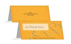 Tischkarte erfüllte Liebe - Gelb (K32)