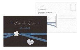 Save the Date Karte sanfte Blüte - Blau (K25)