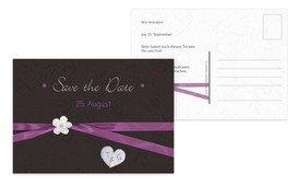 Save the Date Karte sanfte Blüte - Lila (K25)