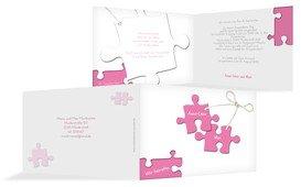 Einladungskarte Puzzleteile 2 - Pink (K19)