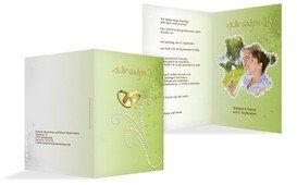 Einladung Eheringe Perlen - Grün (K20)