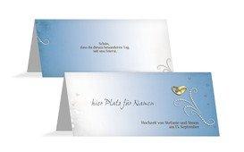 Tischkarte Eheringe Perlen - Blau (K32)