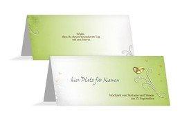 Tischkarte Eheringe Perlen - Grün (K32)