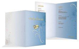 Menükarte zur Hochzeit Eheringe Perlen - Blau (K38)