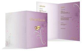 Menükarte zur Hochzeit Eheringe Perlen - Lila (K38)