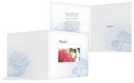 Hochzeitskarte Danke Rose - Hellblau (K24)