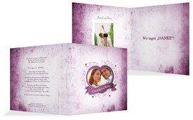 Dankeskarte zur Hochzeit Herz - Lila (K24)