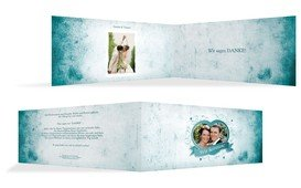 Dankeskarte zur Hochzeit Herz - Dunkelblau (K33)
