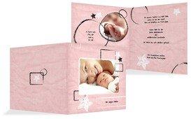 Baby Dankeskarte Kreidepapier - Rosa (K24)