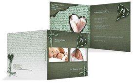 Babykarte Gedicht mit Herz - Grün (K24)