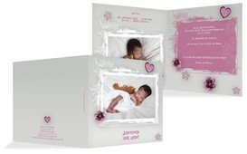 Geburtskarte zarte Blüte - Pink (K24)