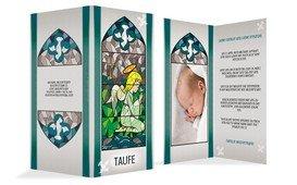 Einladung zur Taufe Kirchenfenster - Grün (K35)