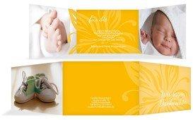 Dankeskarte Geburt Blume - Gelb (K21)