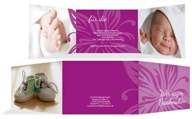 Dankeskarte Geburt Blume - Pink (K21)