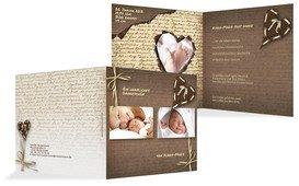 Babykarte Danke Gedicht mit Herz - Braun (K24)