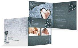 Babykarte Danke Gedicht mit Herz - Türkis (K24)