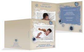 Geburtsdankeskarte zarte Blüte - Blau (K24)