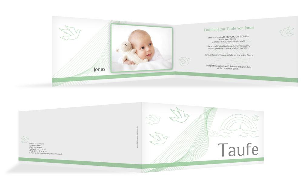Taufe Einladungskarte Taube