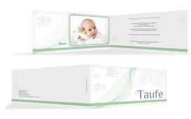 Taufe Einladungskarte Taube - Grün (K33)